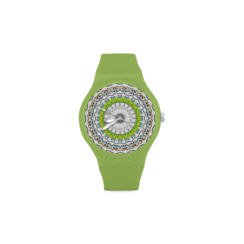 Mandala Kaleidoscope Star Dreamcatcher Unisex Round Rubber Sport Watch(Model 314)