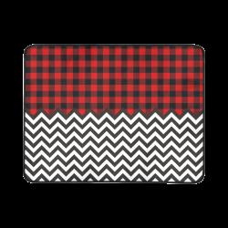 "HIPSTER zigzag chevron pattern black & white + LUMBERJACK Plaid pattern red black Beach Mat 78""x 60"""