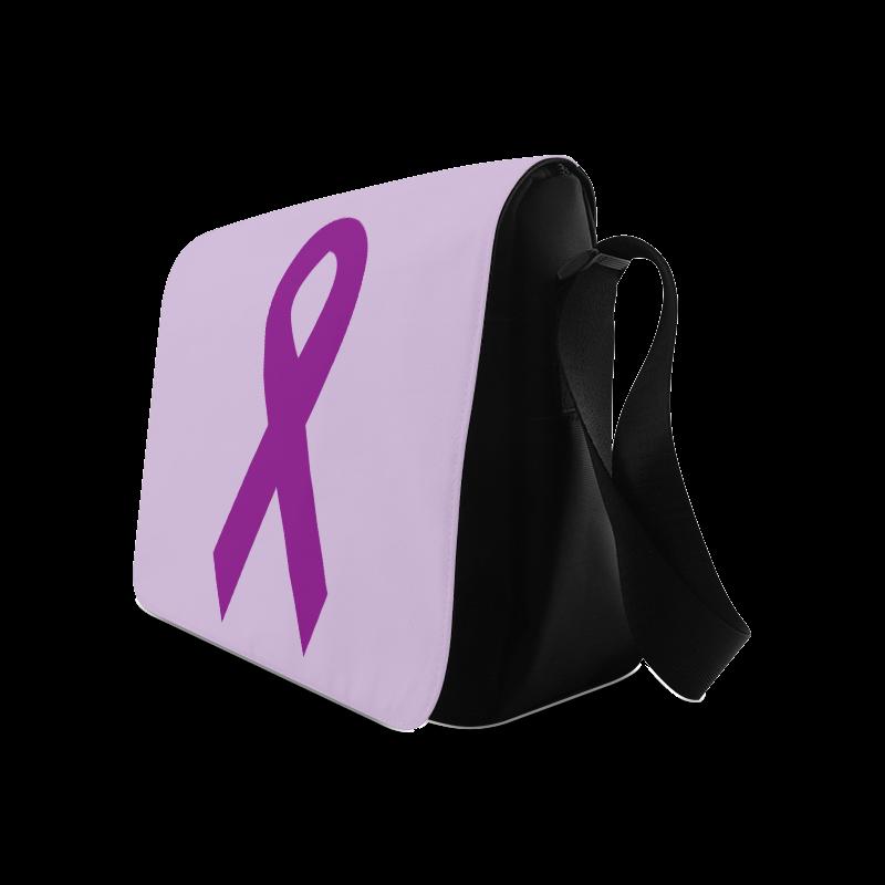 Dark Purple Ribbon Messenger Bag (Model 1628)