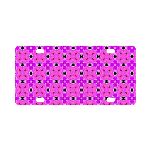 Circle Lattice of Floral Pink Violet Modern Quilt Classic License Plate