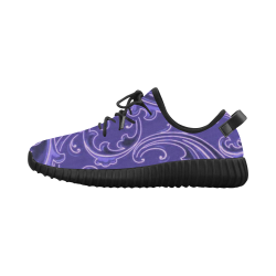 Vintage Swirls Curlicue Lavender Purple Grus Women's Breathable Woven Running Shoes (Model 022)