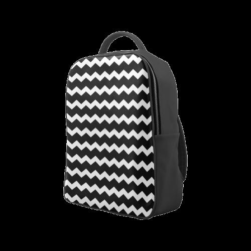 Modern Trendy Pastell Grey Black Zig Zag Pattern Chevron Popular Backpack (Model 1622)