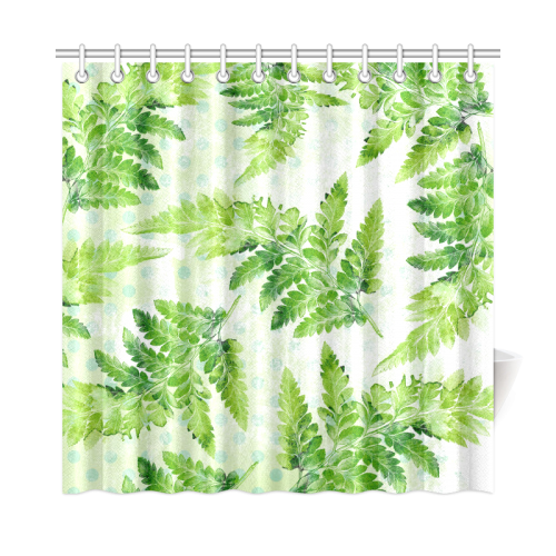 "Green Fern Shower Curtain 72""x72"""