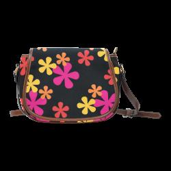 Neon Retro Flowers Saddle Bag/Large (Model 1649)