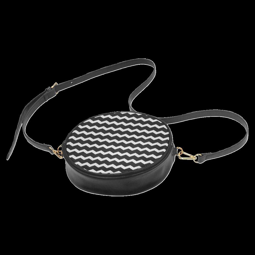 Modern Trendy Pastell Grey Black Zig Zag Pattern Chevron Round Sling Bag (Model 1647)