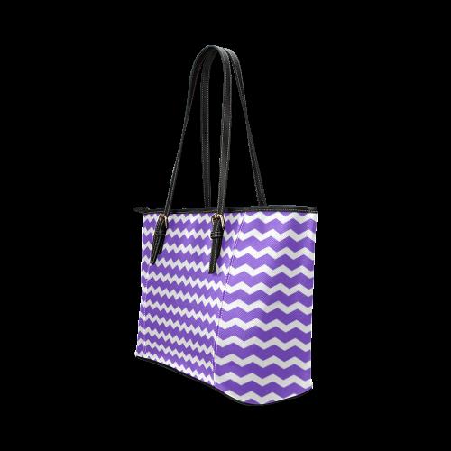 Modern Trendy Pastel Grey Lilac Zig Zag Pattern Chevron Leather Tote Bag/Small (Model 1640)