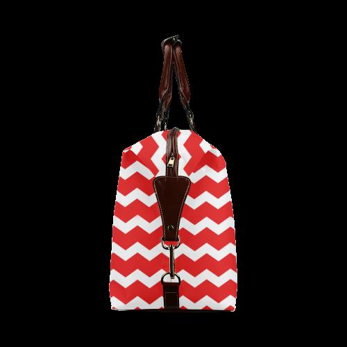 Modern Trendy Pastell Grey Red Zig Zag Pattern Chevron Classic Travel Bag (Model 1643)