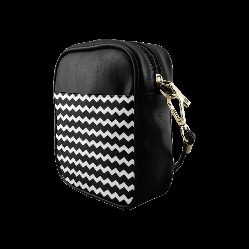Modern Trendy Pastell Grey Black Zig Zag Pattern Chevron Sling Bag (Model 1627)