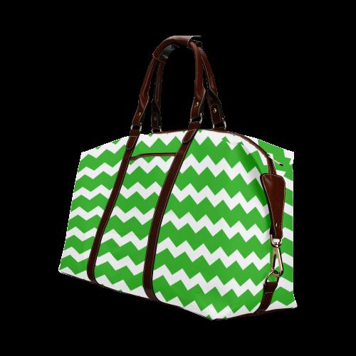 Modern Trendy Pastel Grey Green Zig Zag Pattern Chevron Classic Travel Bag (Model 1643)