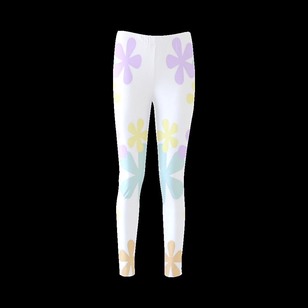 Pastel Retro Flowers Cassandra Women's Leggings (Model L01)