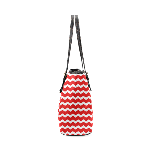 Modern Trendy Pastell Grey Red Zig Zag Pattern Chevron Leather Tote Bag/Small (Model 1640)