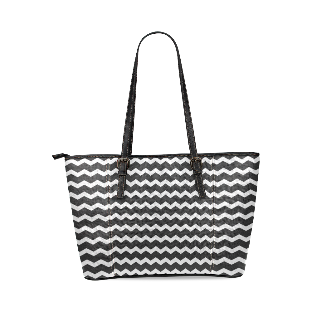 Modern Trendy Pastel Grey Black Zig Zag Pattern Chevron Leather Tote Bag/Small (Model 1640)
