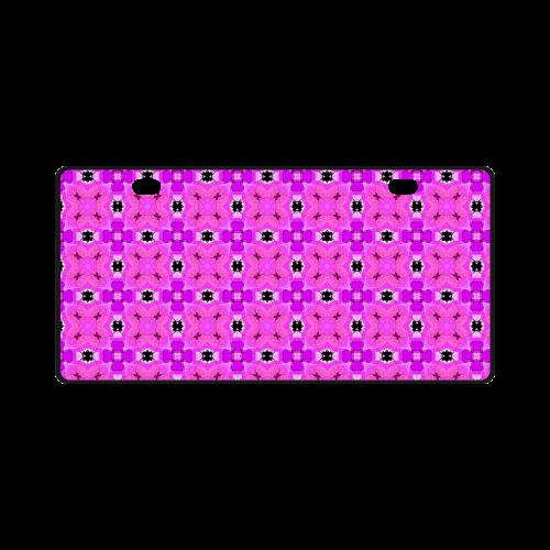 Circle Lattice of Floral Pink Violet Modern Quilt License Plate
