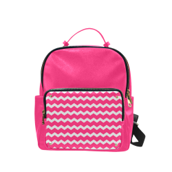 Modern Trendy Pastell Grey Pink Zig Zag Pattern Chevron Campus backpack/Large (Model 1650)