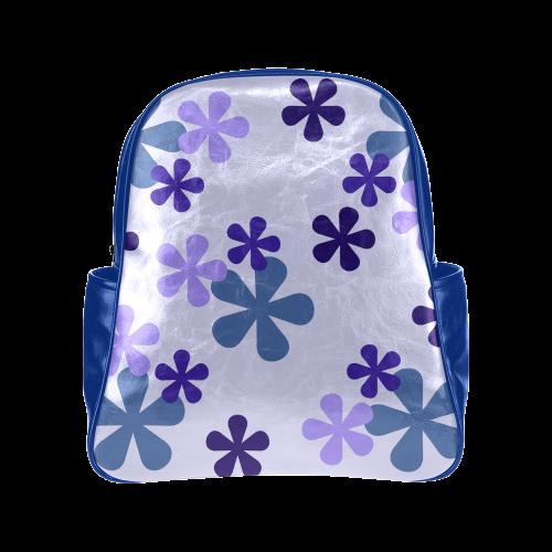 Blue Retro Flowers Multi-Pockets Backpack (Model 1636)