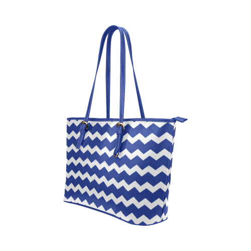 Modern Trendy Pastell Grey Dark Blue Zig Zag Pattern Chevron Leather Tote Bag/Large (Model 1651)