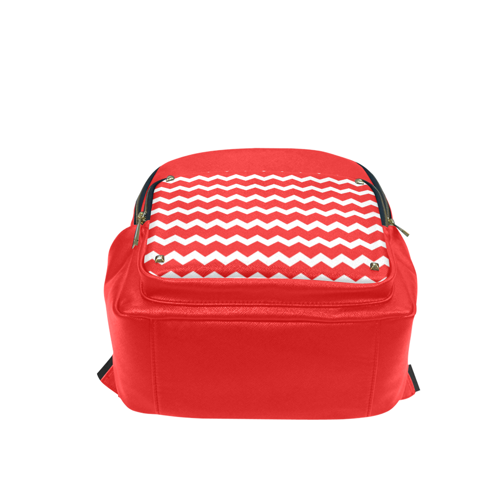 Modern Trendy Pastell Grey Red Zig Zag Pattern Chevron Campus backpack/Large (Model 1650)