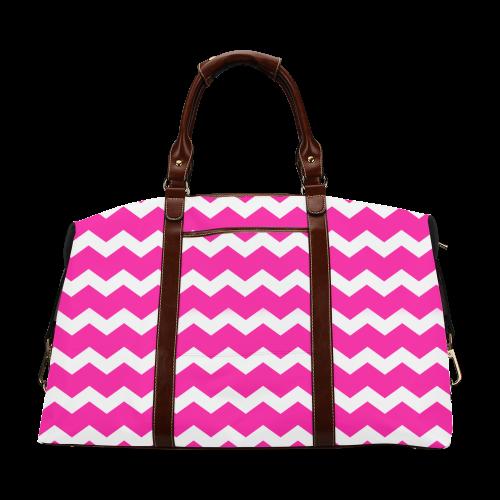 Modern Trendy Pastel Grey Pink Zig Zag Pattern Chevron Classic Travel Bag (Model 1643)