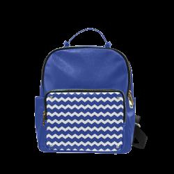 Modern Trendy Pastell Grey Blue Zig Zag Pattern Chevron Campus backpack/Large (Model 1650)