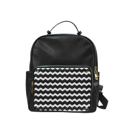 Modern Trendy Pastell Grey Black Zig Zag Pattern Chevron Campus backpack/Large (Model 1650)