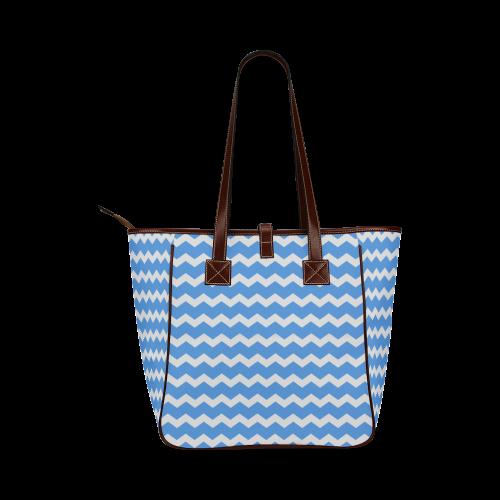Modern Trendy Pastel Grey Blue Zig Zag Pattern Chevron Classic Tote Bag (Model 1644)