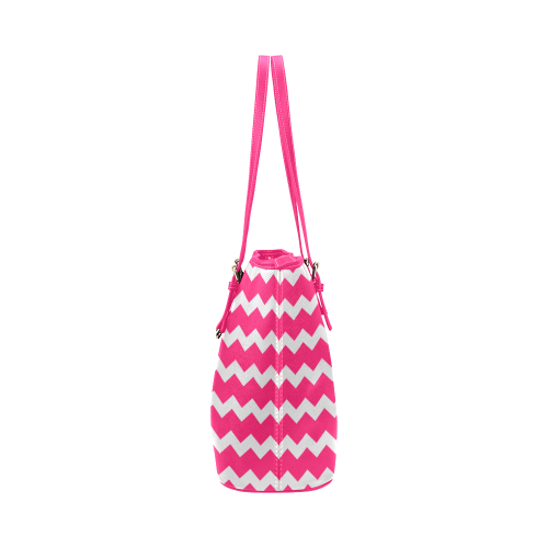 Modern Trendy Pastell Grey Pink Zig Zag Pattern Chevron Leather Tote Bag/Large (Model 1651)