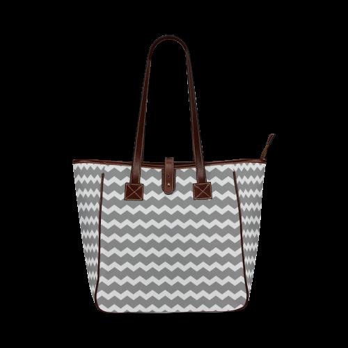 Modern Trendy Pastell Grey Zig Zag Pattern Chevron Classic Tote Bag (Model 1644)