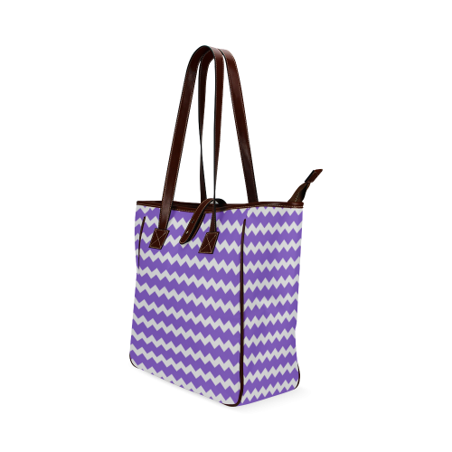 Modern Trendy Pastell Grey Lilac Zig Zag Pattern Chevron Classic Tote Bag (Model 1644)