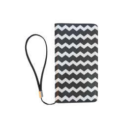 Modern Trendy Pastel Grey Black Zig Zag Pattern Chevron Men's Clutch Purse (Model 1638)