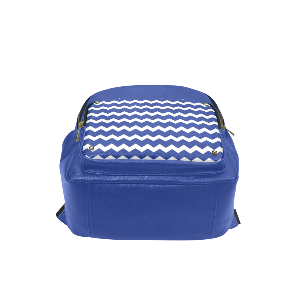 Modern Trendy Pastell Grey Blue Zig Zag Pattern Chevron Campus backpack/Large (Model 1650)