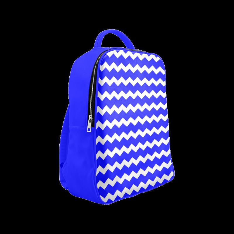 Modern Trendy Pastell Grey Blue Zig Zag Pattern Chevron Popular Backpack (Model 1622)