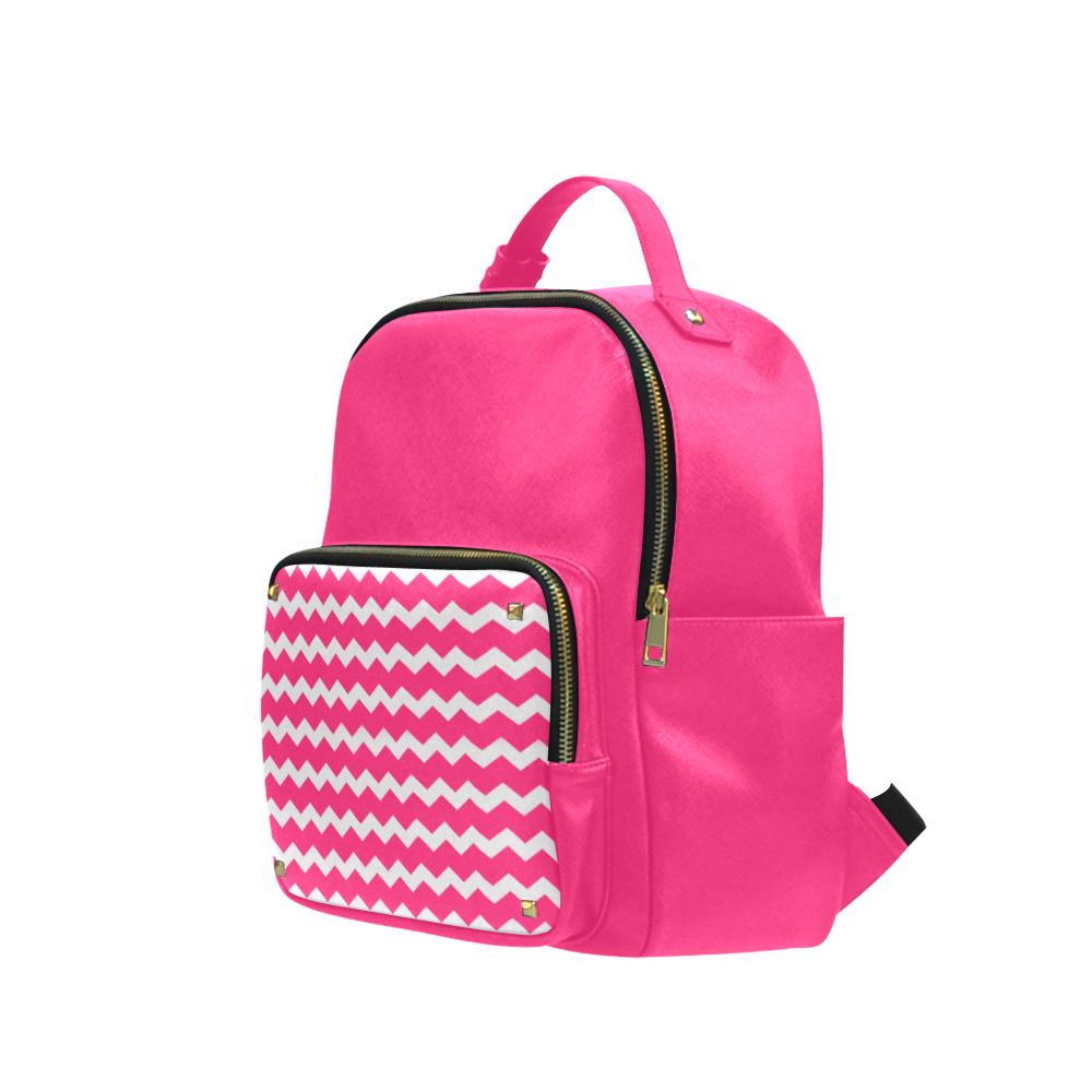 Modern Trendy Pastell Grey Pink Zig Zag Pattern Chevron Campus backpack/Large (Model 1650)