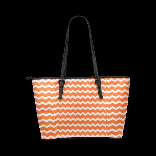 Modern Trendy Pastell Grey Orange Zig Zag Pattern Chevron Leather Tote Bag/Small (Model 1640)