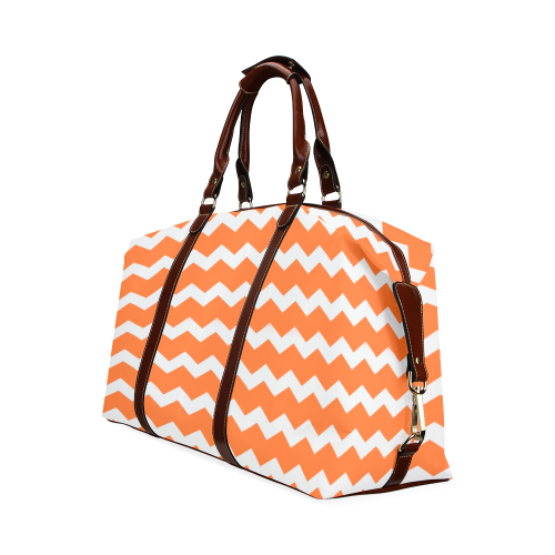 Modern Trendy Pastel Grey Orange Zig Zag Pattern Chevron Classic Travel Bag (Model 1643)