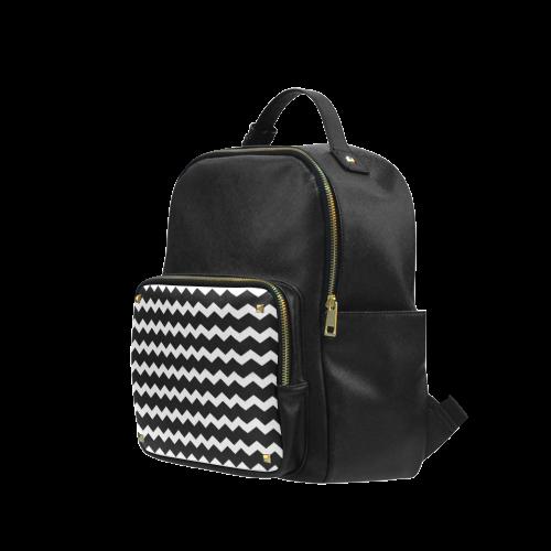 Modern Trendy Pastell Grey Black Zig Zag Pattern Chevron Campus backpack/Large (Model 1650)