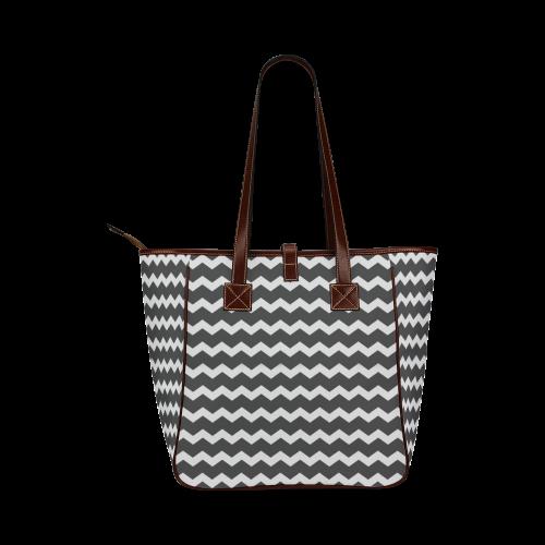Modern Trendy Pastell Grey Black Zig Zag Pattern Chevron Classic Tote Bag (Model 1644)