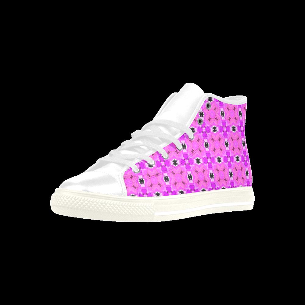 Circle Lattice of Floral Pink Violet Modern Quilt Aquila High Top Microfiber Leather Men's Shoes (Model 027)