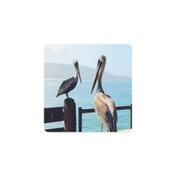 Seaside Pelican Chat Square Coaster