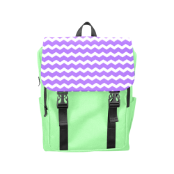 Modern Trendy Pastell Grey Green Lilac Zig Zag Pattern Chevron Casual Shoulders Backpack (Model 1623)