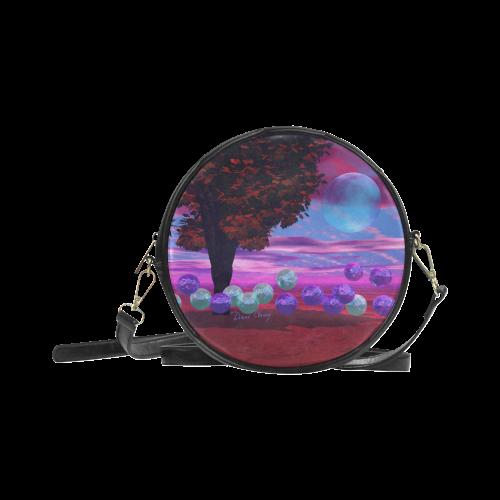 Bubble Garden, Abstract Rose  Azure Wisdom Round Sling Bag (Model 1647)