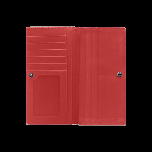 Modern Trendy Pastel Grey Red Zig Zag Pattern Chevron Women's Leather Wallet (Model 1611)