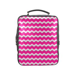 Modern Trendy Pastel Grey pink Zig Zag Pattern Chevron Square Backpack (Model 1618)