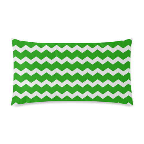 "Modern Trendy Pastell Grey Green Zig Zag Pattern Chevron Rectangle Pillow Case 20""x36""(Twin Sides)"
