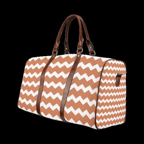 Modern Trendy Pastell Grey Ocker Zig Zag Pattern Chevron Waterproof Travel Bag/Large (Model 1639)