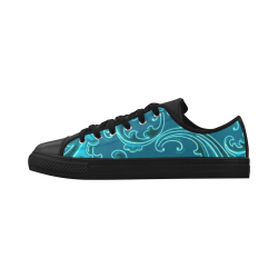 Vintage Swirls Curlicue Teal Turquoise Peacock Aquila Microfiber Leather Women's Shoes (Model 028)