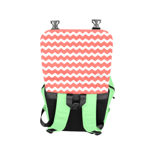 Modern Trendy Pastell Grey Red Green Zig Zag Pattern Chevron Casual Shoulders Backpack (Model 1623)