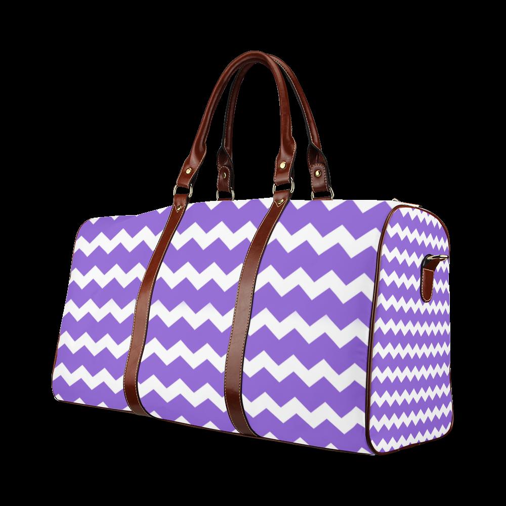 Modern Trendy Pastel Grey Lilac Zig Zag Pattern Chevron Waterproof Travel Bag/Large (Model 1639)