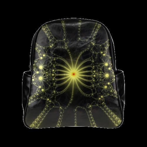 Yellow Flower Explosion Multi-Pockets Backpack (Model 1636)