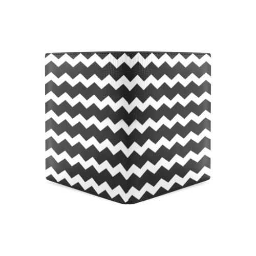 Modern Trendy Pastell Grey Black Zig Zag Pattern Chevron Men's Leather Wallet (Model 1612)