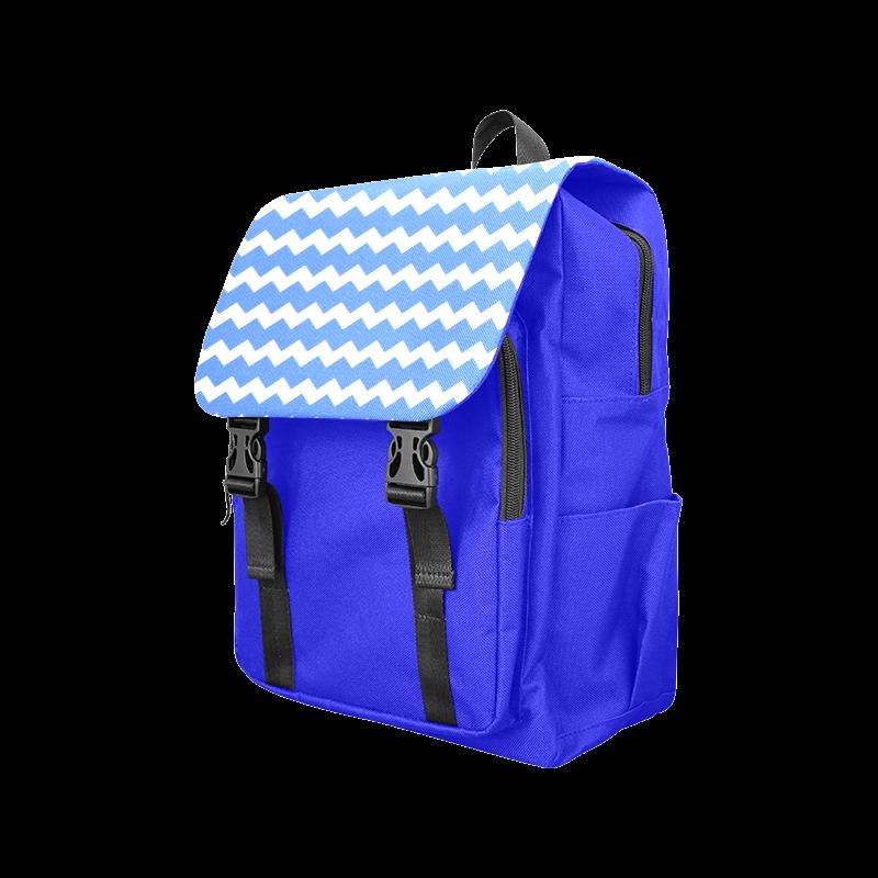 Modern Trendy Pastell Grey Blue Zig Zag Pattern Chevron Casual Shoulders Backpack (Model 1623)